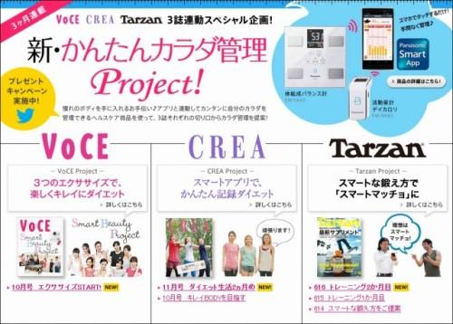 パナソニック「新・かんたんカラダ管理 Project!」 人気雑誌VoCE、CREA、Tarzanの3誌連動スペシャル企画