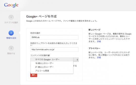 Google+ページ 情報を入力する