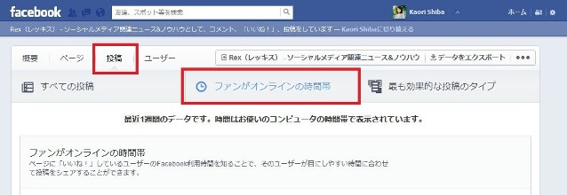 RexFacebookインサイトの画面