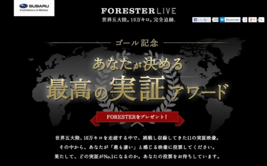 富士重工業(SUBARU)実証チャレンジ「FORESTER LIVE」が見事ゴール!「あなたが決める!最高の実証アワード」