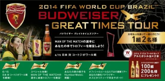 バドワイザー ソーシャルギフト企画「2014 FiFA WORLD CUP BRAZIL BUDWEISER GREAT TIMES TOUR」キャンペーン