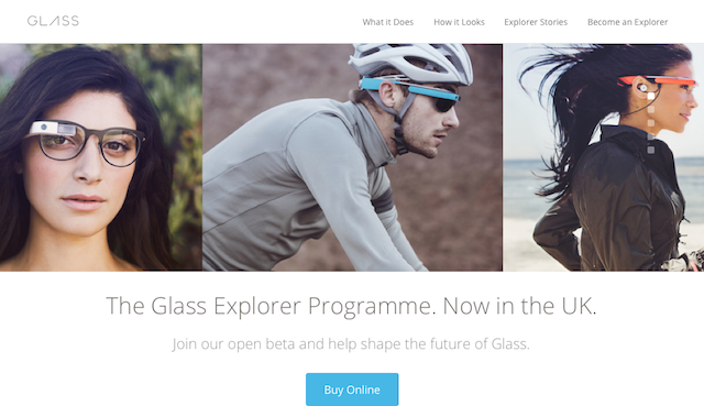販売開始されたイギリスのGoogle Glassサイト