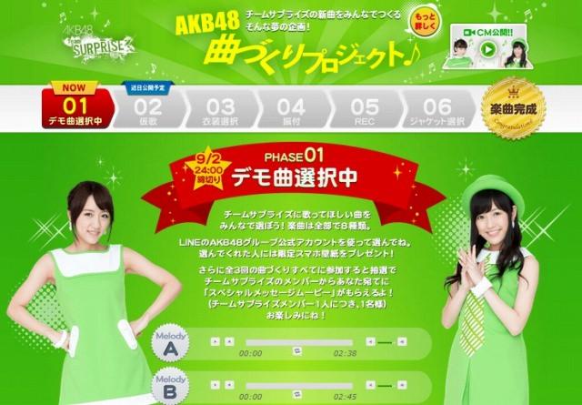 AKB48 LINEで「AKB48 曲づくりプロジェクト」