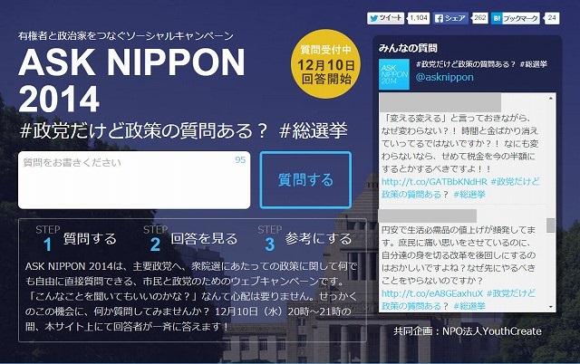 Yahoo!Japanみんなの政治×NPO法人YouthCreate 有権者と政治家をつなぐソーシャルキャンペーン「ASK NIPPON 2014」