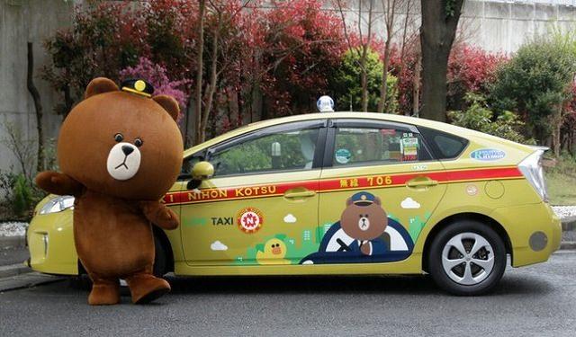"""新機能『LINE TAXI』LINEキャラクター「ブラウン」が描かれた""""限定タクシー""""走行記念!「ブラウンタクシーを探せ」キャンペーン"""