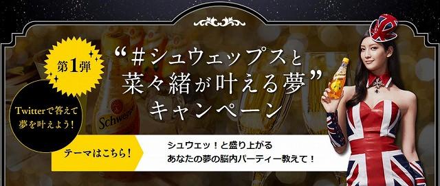 """コカ・コーラ「""""#シュウェップスと菜々緒が叶える夢""""キャンペーン」"""