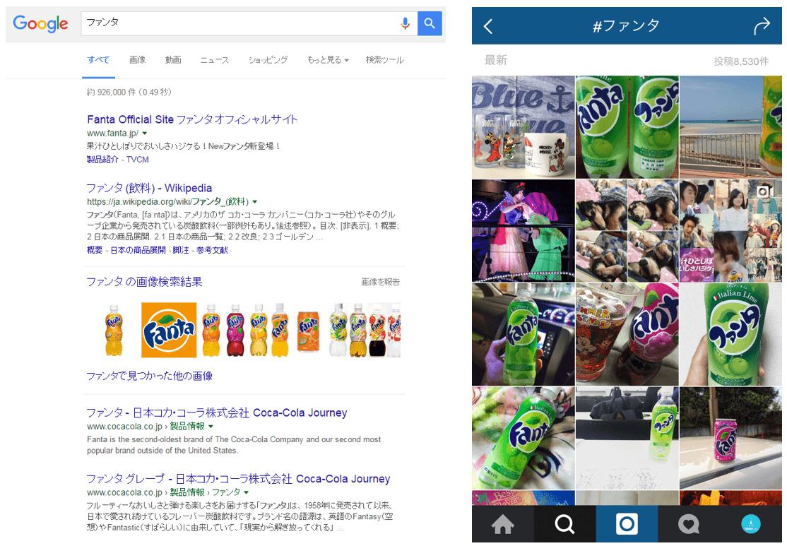 例:炭酸飲料「ファンタ」の検索結果