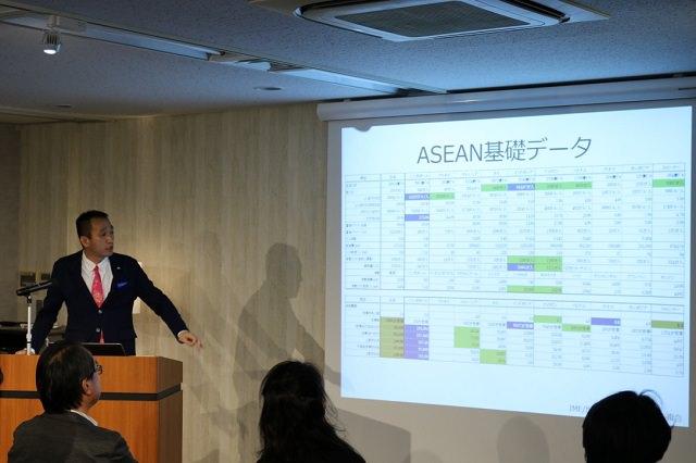 人口動態や国の面積あたりの小売店の数などを示し、ASEANにおけるECの将来性の高さを説明