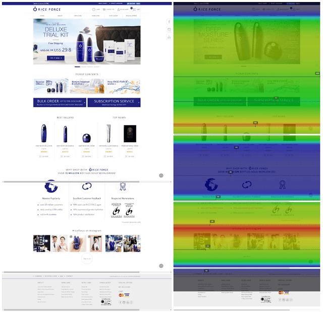 「ライスフォース」の海外向けECサイト(左)と同ページのヒートマップ(右)