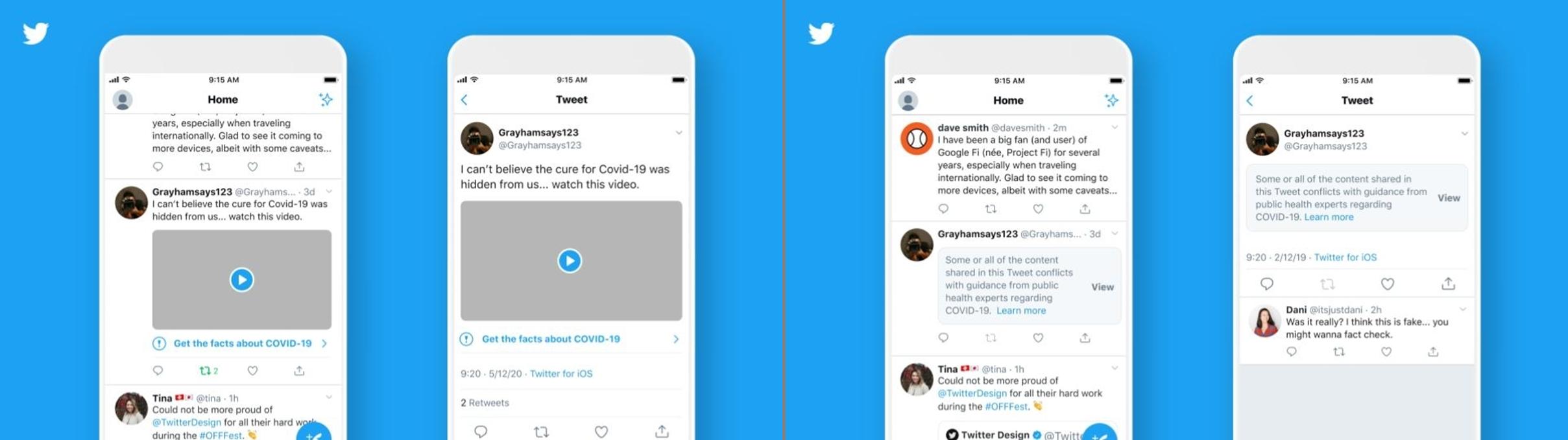 Twitter ラベルと警告メッセージの表示